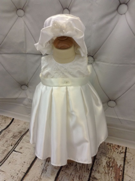 Lace Bodice Christening Dress, with Satin Skirt.